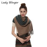 Lady Blinger double face two tone faux cashmere shawl fringed green taupe wraps big size scarf reversible pashmina for women