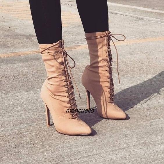 أنيق بيج الصليب الشريط أحذية قصيرة المرأة مثير مدبب خنجر كعب الدانتيل يصل أحذية الكاحل موجزة تصميم الأزياء والأحذية