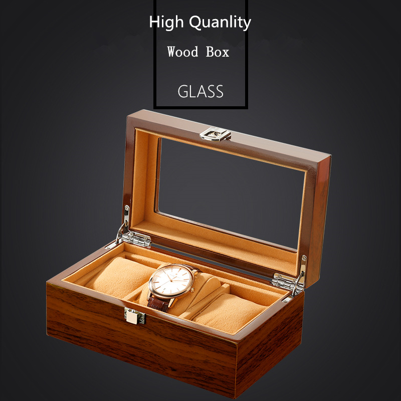3 Slots Wood Men Watch Box With Window Brown Quanlity Wooden Watch Storage Case New Mens Watch And Jewelry Gift Box C033 handmade new solid maple wood brown acoustic violin violino 4 4 electric violin case bow included