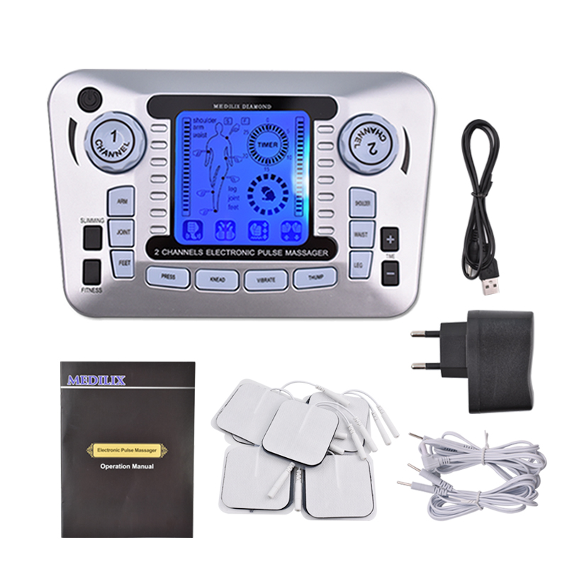 Electrical Muscle Stimulator Relax Muscle Massage Machine Pulse Tens Acupuncture Therapy Massager Slimming Fat Burner +10 Pads hot electric slimming full body relax pulse muscle stimulator tens therapy machine massager vibrateur with 20pcs tens pads