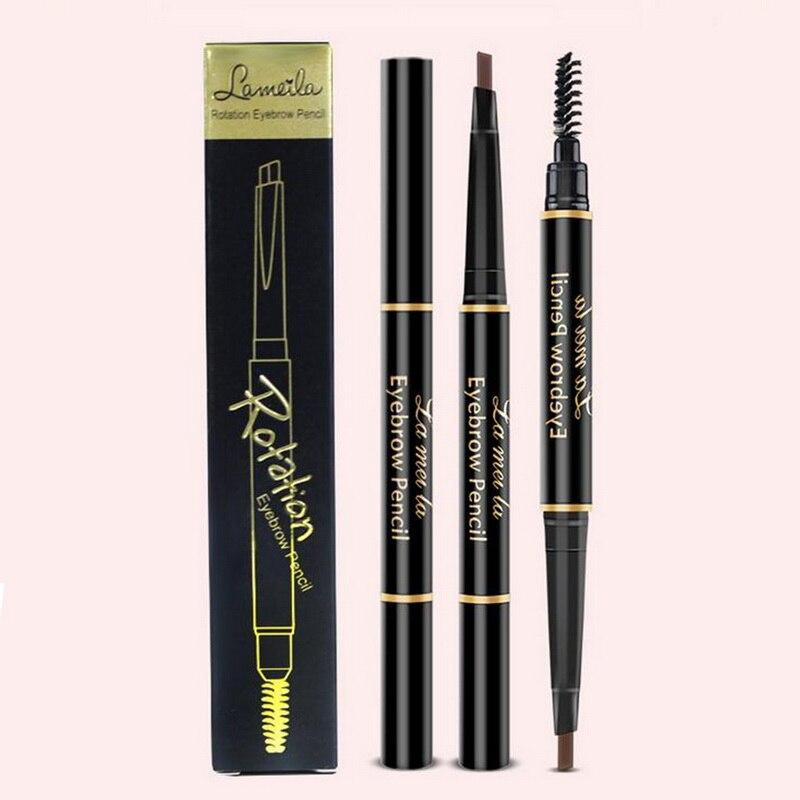 Двойной карандаш для бровей автоматически вращающийся треугольник Водонепроницаемый не-карандаш для бровей карандаш Maquiagem