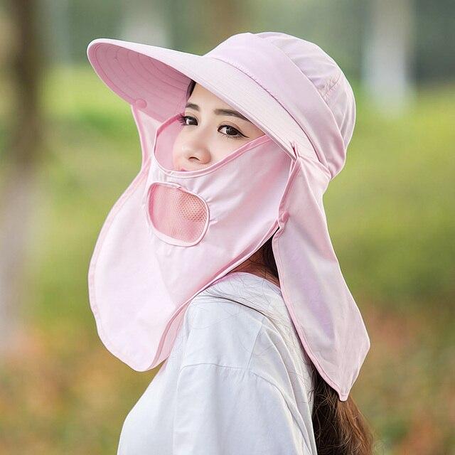 6af0bbbb9a530 Sombrero de sol Mujeres Niñas Para Mujer Sombreros Y Gorras Coreano con  Mosquitera Gorra Visera Visera