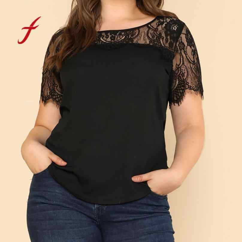 8e07dabbd95d53 Women Plus Size Lace Patchwork Perspective Short Sleeve Tops T-Shirt Female  Sexy Splice Large