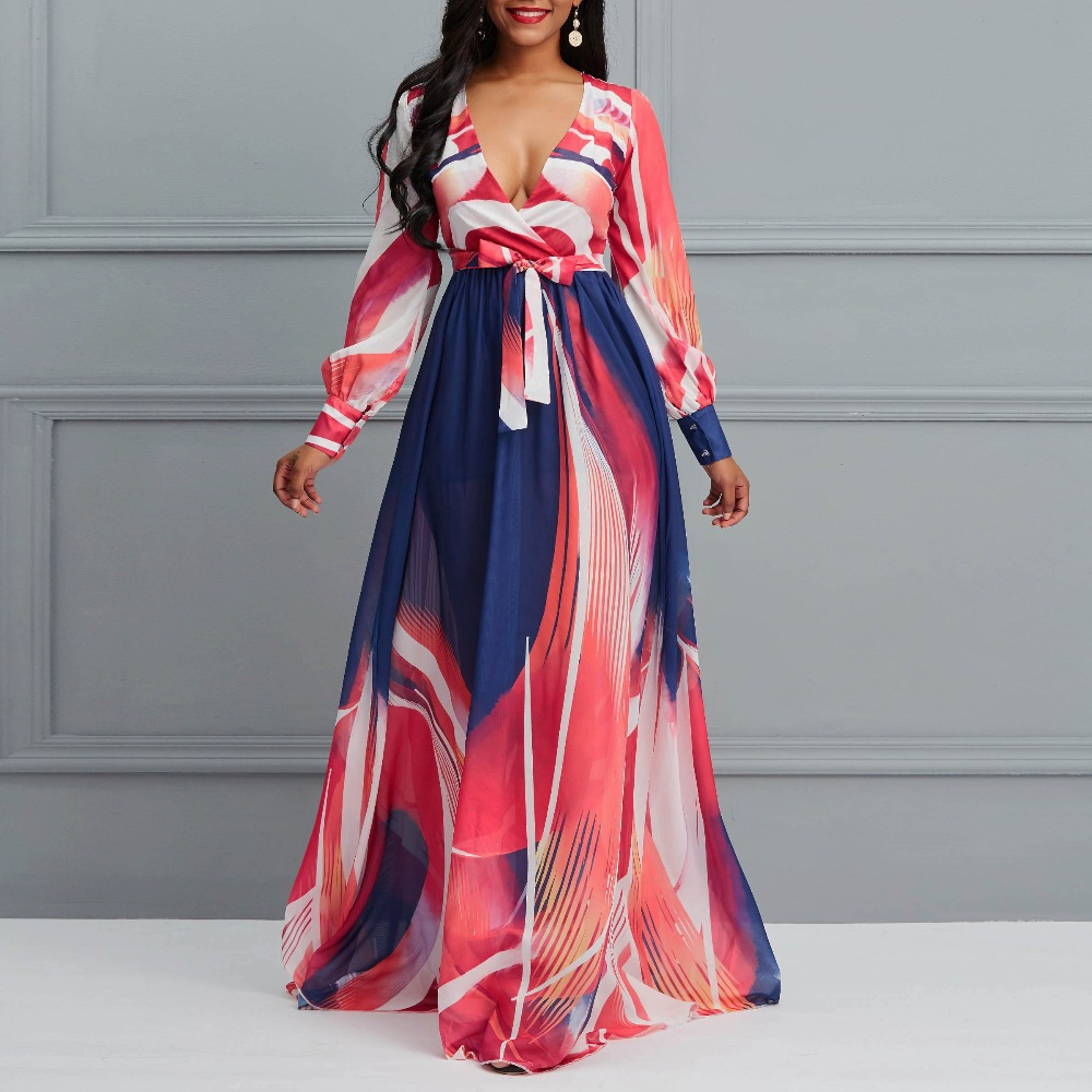 2019 Autumn New Women Chiffon Long Dress Color Block Deep V Neck Sexy Charm Large Sizes Fashion Ethnic Casual Party Maxi Dresses