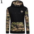 New Arrival Men's Autumn Winter Fashion Camouflage Patchwork Pullover Sweatshirt Hoodie