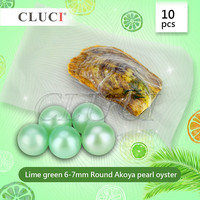 10pcs 6 7mm AAA Grade Round Akoya Lime Green Pearl In Oyster With Vacuum Packing Free