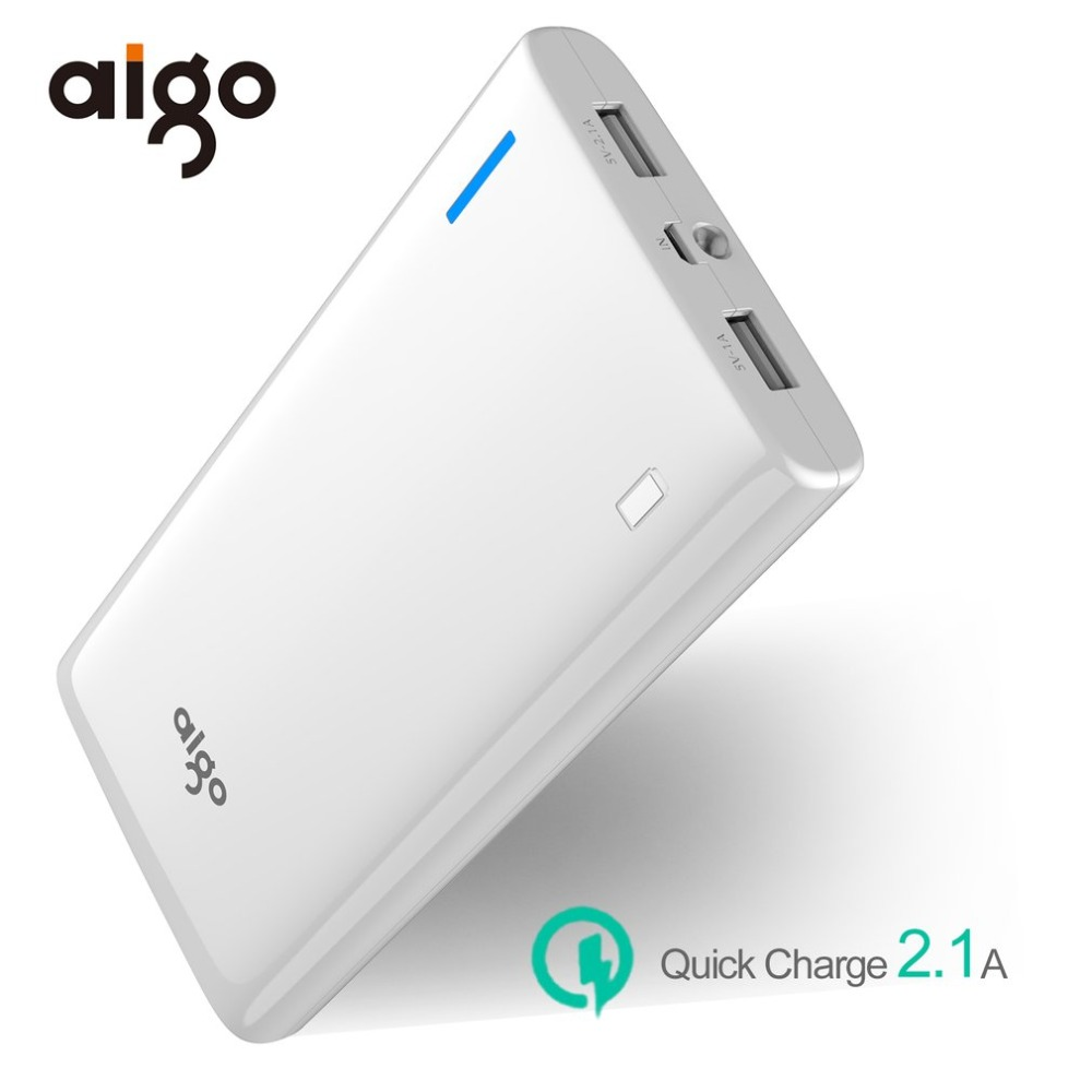 Aigo 20000mAh Dual USB Power Bank Quick Charge 3.0 LED Powerbank Portable External Battery Charger For Mobile Phones Battery