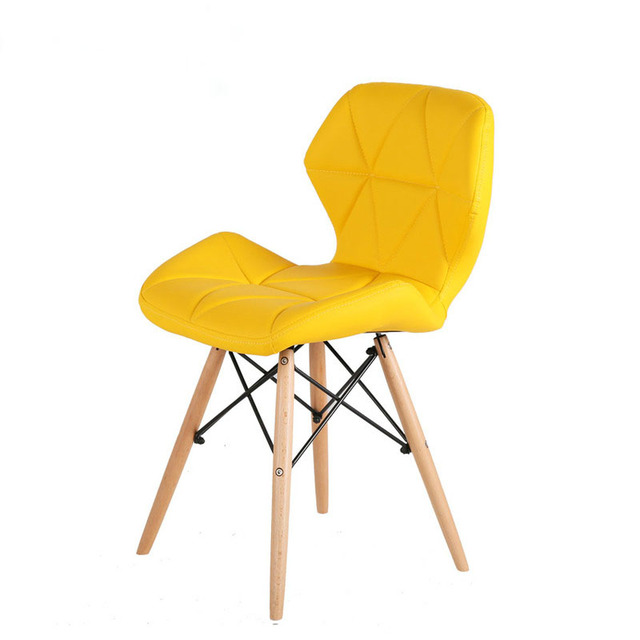Living Room  Home Furniture Leisure Dining Chair PU Leather Beech Wood legs Chair