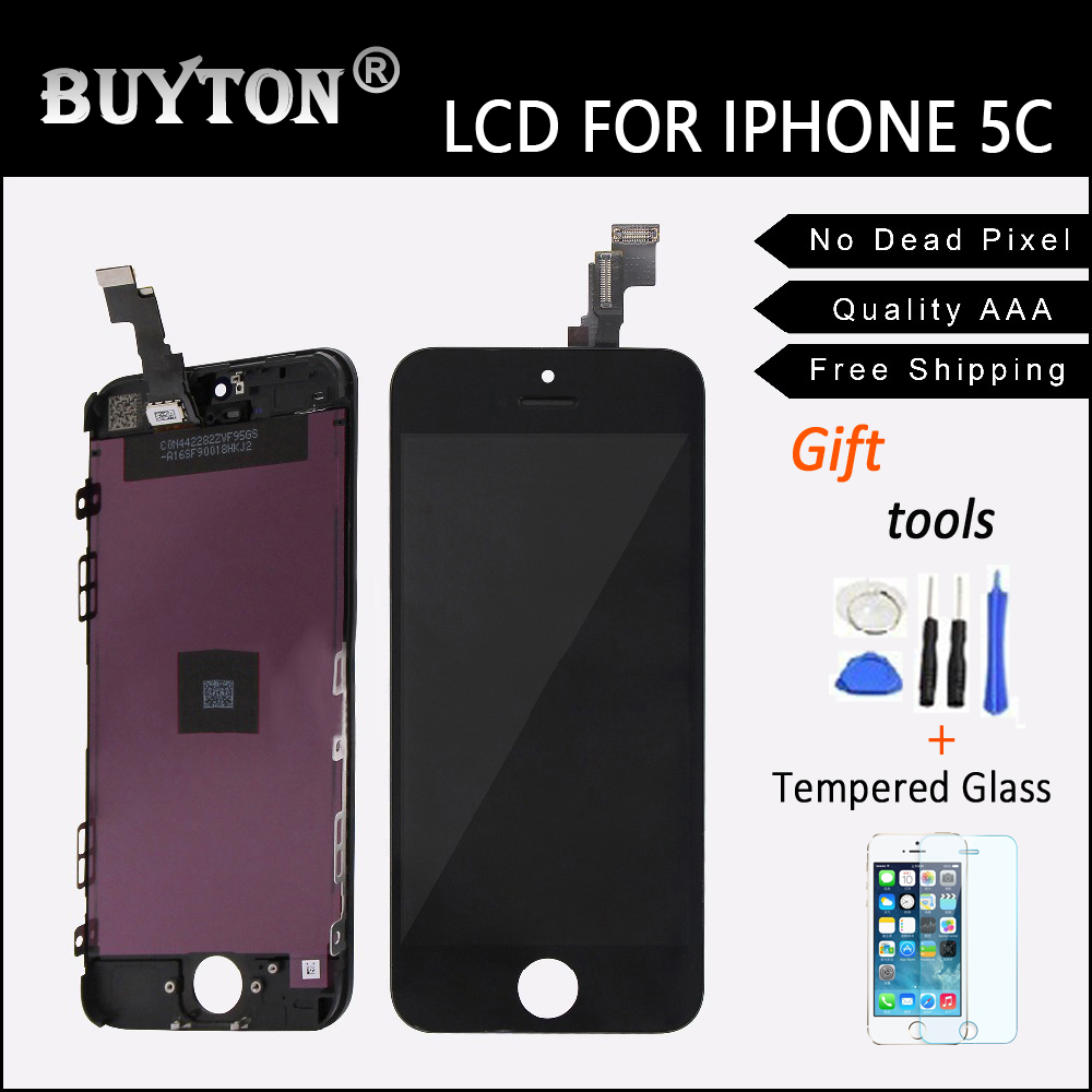 BUYTON 100% Guarantee Quality AAA For iPhone 5C LCD with Touch Screen Digitizer Assembly Black Free Shipping Free Tool Kits