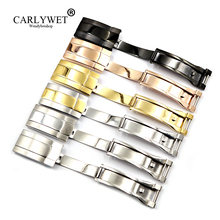 CARLYWET Wholesale 16 x 9mm 316L Stainless Steel Replacement Buckle Clasp For GMT Submariner Bracelet Rubber Leather Band Loops
