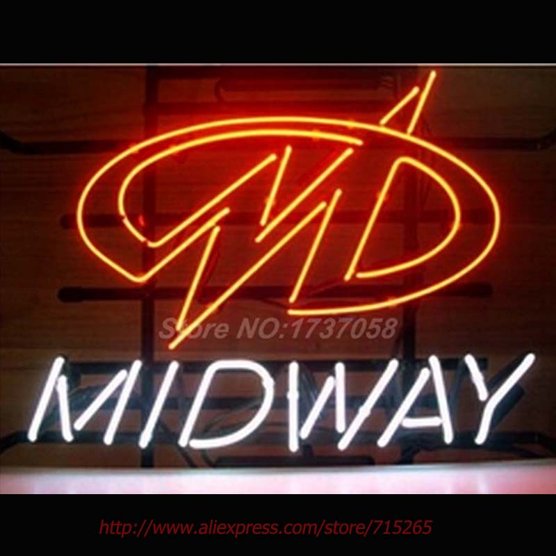 2017 HOT Neon Sign MIDWAY Glass Tuble Handicraft Arcade Game Room DECORATE Window Lights Light Led VD 17*14