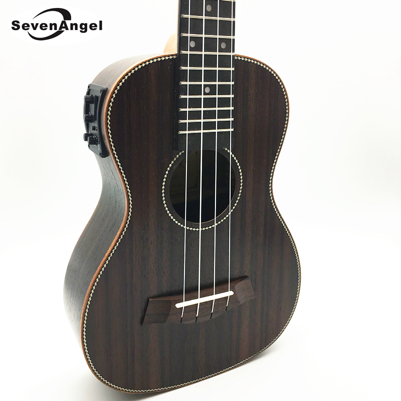 SevenAngel Concert Electric Acoustic Ukulele 23 inch Rosewood Hawaiian 4 Strings Guitar 17 Fret Electric Ukelele with Pickup EQ tenor concert acoustic electric ukulele