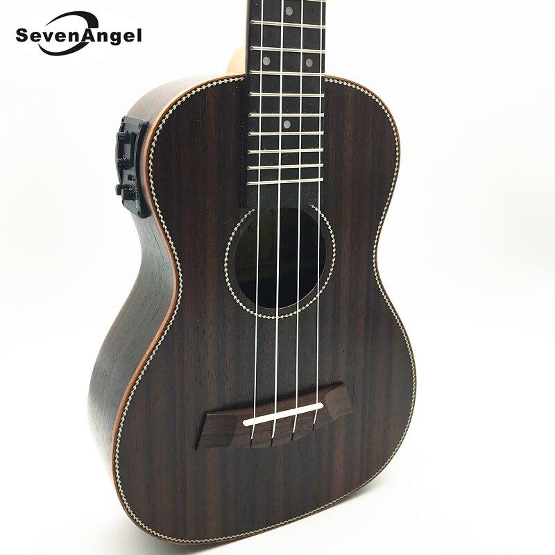 SevenAngel Concert Electric Acoustic Ukulele 23 inch Rosewood Hawaiian 4 Strings Guitar 17 Fret Electric Ukelele with Pickup EQ