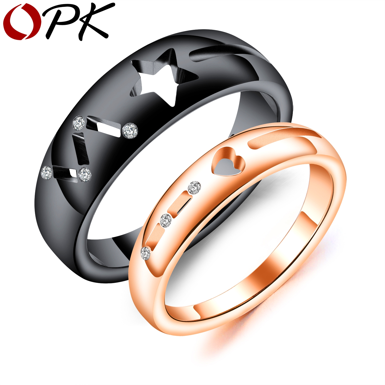 rose and sapphire steel rings set choose engagement white stainless ring product
