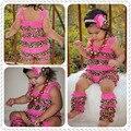 Ярко-розовый кружевной леопарда ползунки набор соответствующие гетры младенца kdis моды кружева ползунки набор детская одежда набор