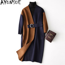 AYUNSUE Autumn Winter Fashion Wool Coat Women 2019 New Panelled Patchwork 100% Wool Coat Female Warm Long Jacket casaco 37108(China)