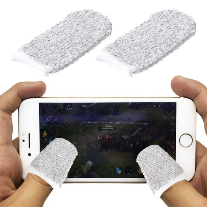 1 Pair Mobile Finger Stall Sensitive Game Controller Sweatproof Breathable Finger Cots Accessories for Iphone Adnroid Углеродное волокно