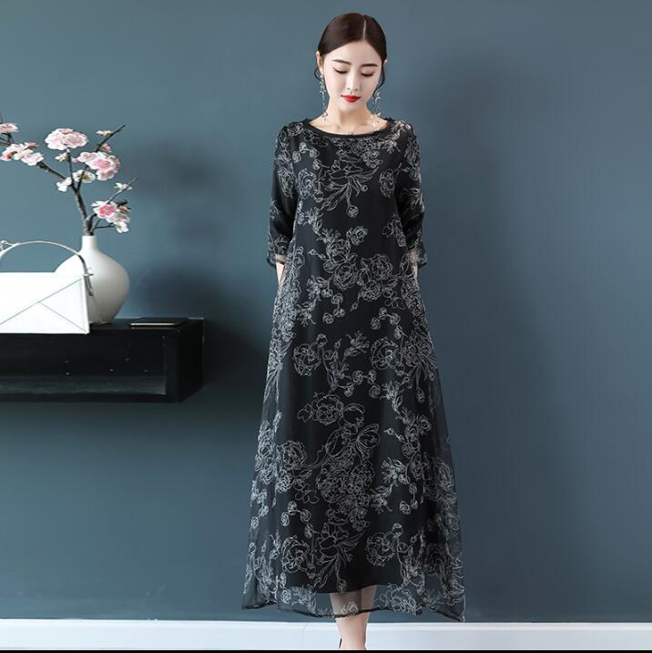 Women Summer Dresses Loose Elegant Black Floral Printed Long Dress Casual Party Robe Femme Plus Size Womens Clothes 2018 4XL