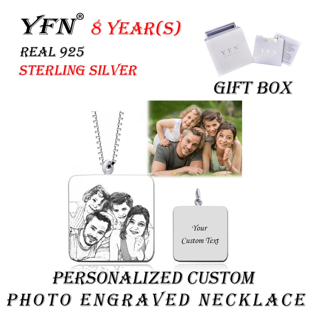 925 Sterling Silver Personalized Square Engraved Photo Necklace