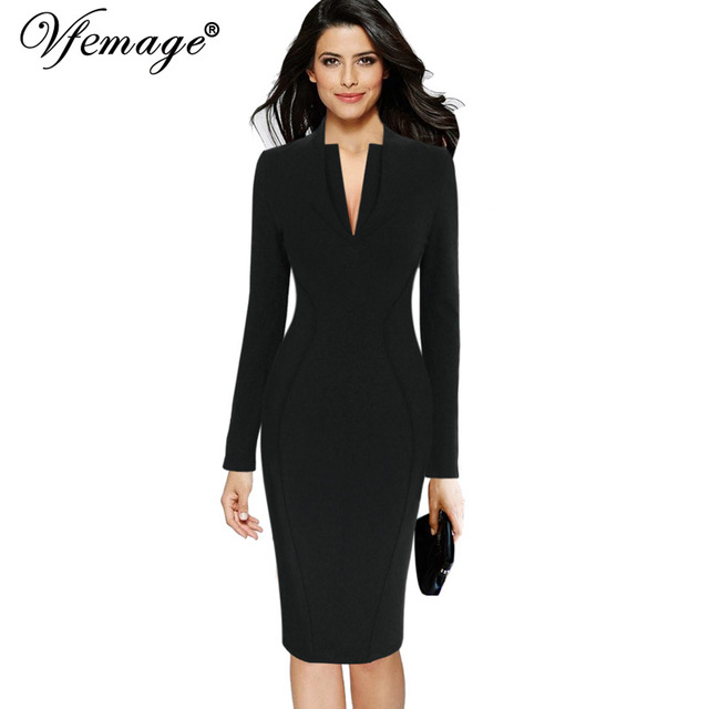 Vfemage Womens Winter Sexy Deep V Neck Long Sleeve Elegant Work Business Office Dinner Party