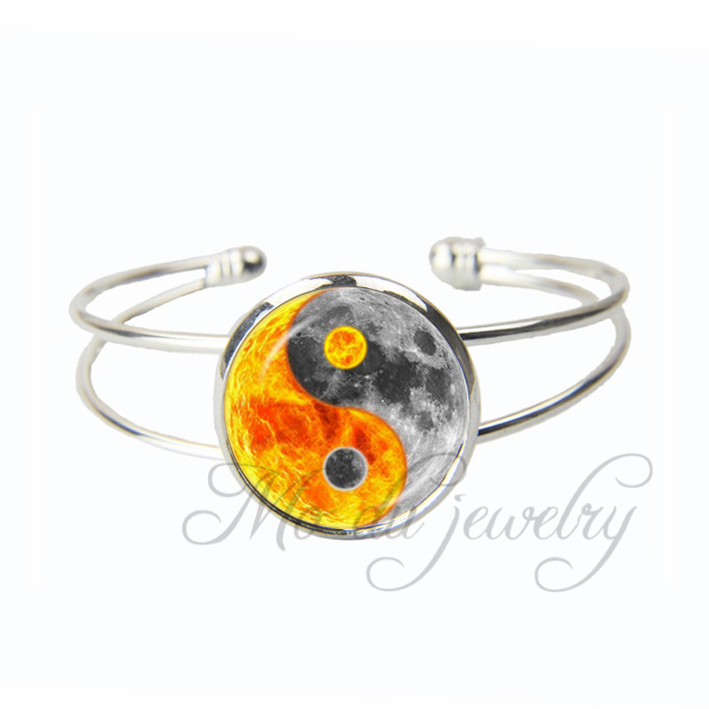Buy Earth and Fire Yin Yang Open Cuff Bangle Religious Bracelet Chinese Eight Diagrams Tai Chi Taoism Bangles Jewelry for $3.59 in AliExpress store