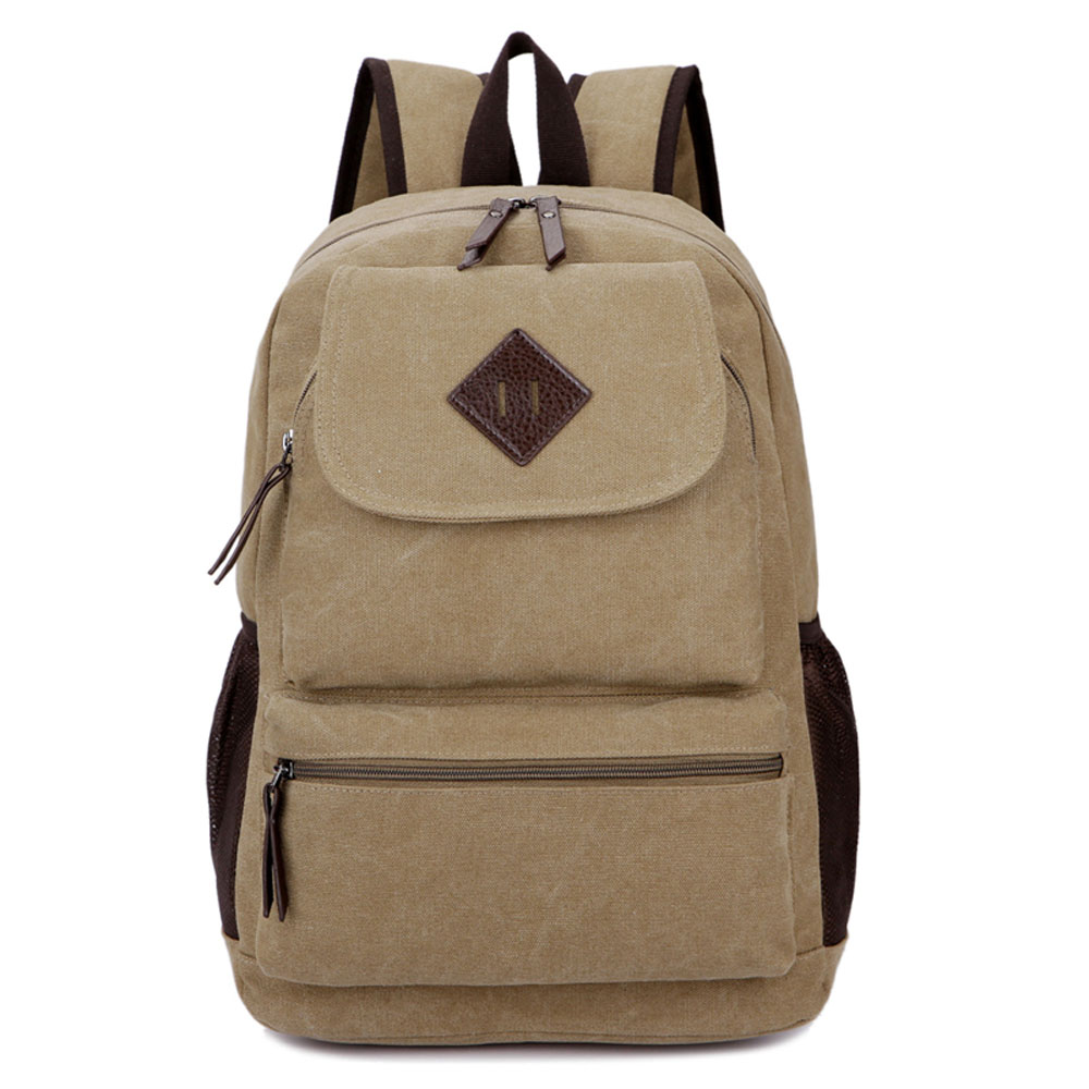 ФОТО Classic Retro Outside Journey Casual Canvas Backpack Young Men Laptop Bag Simple School Student Rucksack