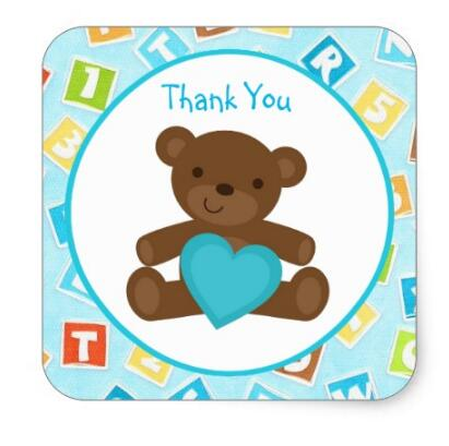 1.5inch Turquoise Teddy Bear and Blocks Stickers