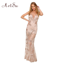 ArtSu Sexy Gold Sequin Embroidery Party Club Maxi Dresses Elegant Off Shoulder Women Vintage Camis Long Dress Vestidos ASDR20013
