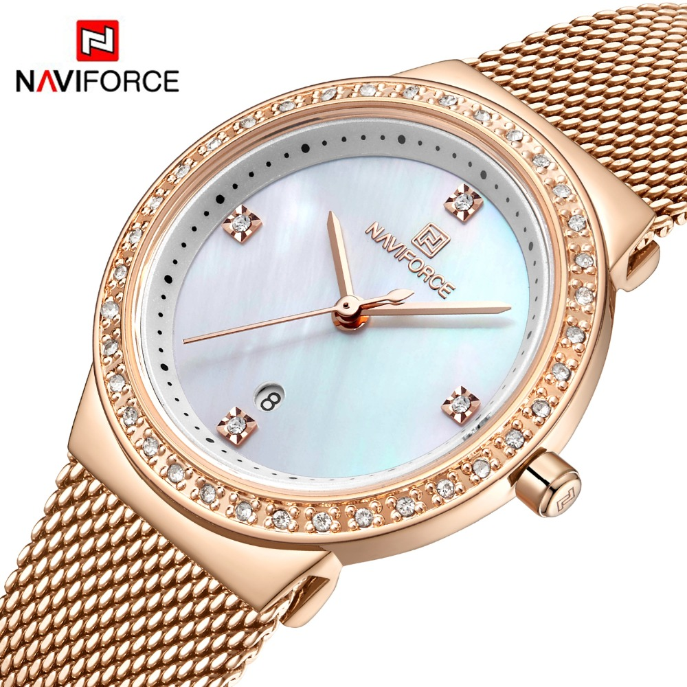 Naviforce nova rosa ouro relógio feminino relógio de quartzo de negócios senhoras marca superior luxo feminino relógio de pulso meninas relogio feminino|Relógios femininos| |  - title=