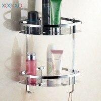 Xogolo Stainless Steel 304 Polished Bathroom Shelf Wholesale And Retail Dual Tier Sturdy Corner Shelf Bathroom