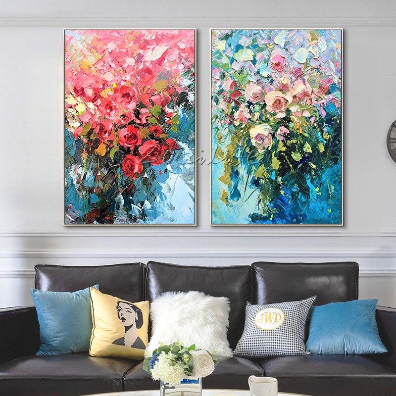 8207 Pintura En Lienzo De Flores Cuadros Decoración Paleta Cuchillo 3d Textura Acrílico Pared Arte Cuadros Para Decoración De Sala De Estar