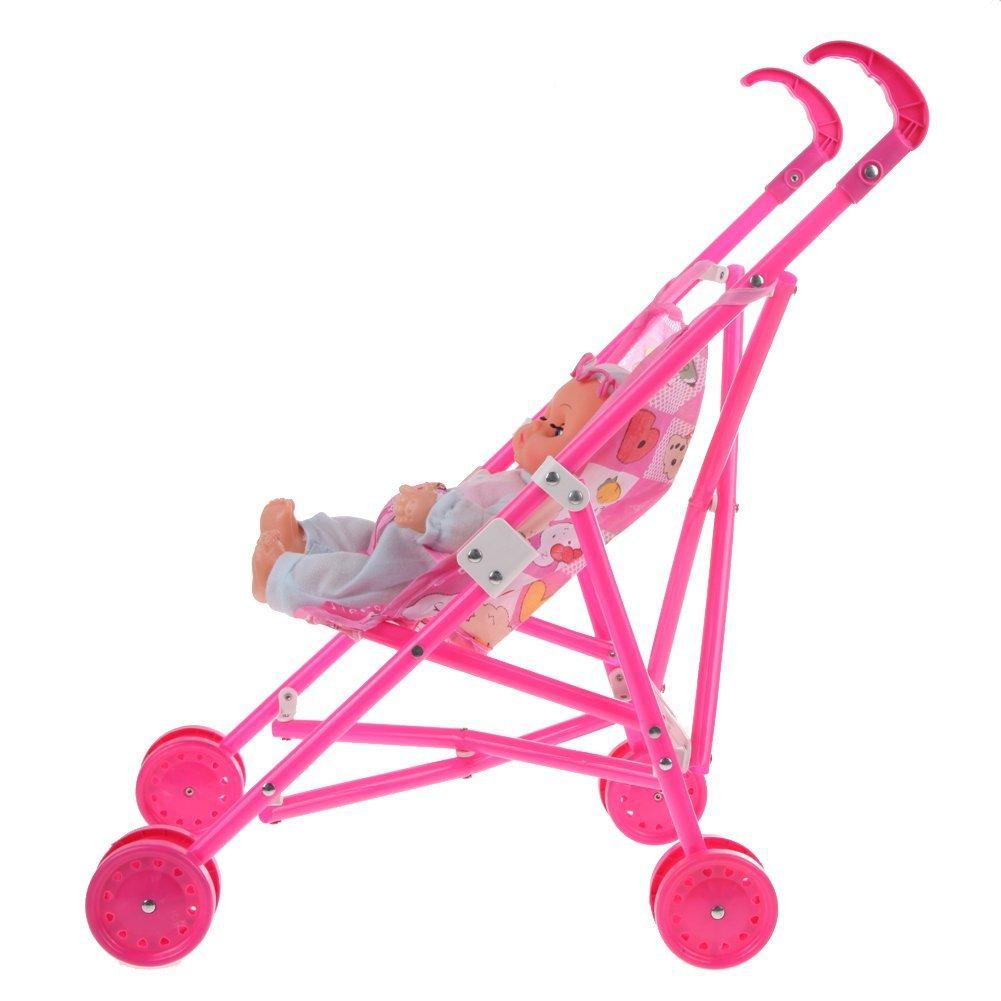 Dolls Buggy Stroller Pushchair Pram Foldable Toy Doll Pram Baby Doll