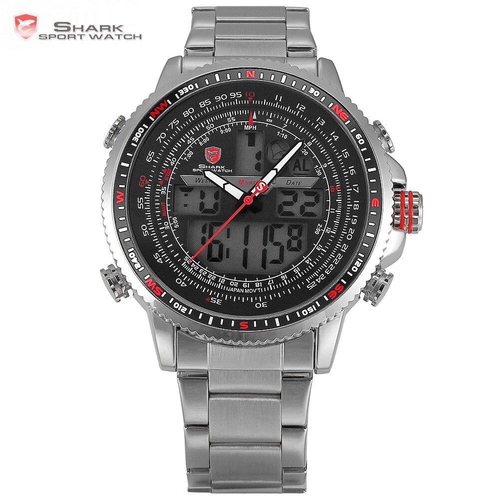 Luxury Winghead SHARK Sport Watch Men Black Dual Time Date Alarm Steel Band Relogio Masculino LCD Quartz Digital Watches /SH325N