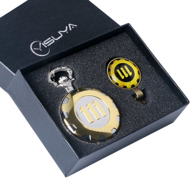 Fallout 4 Vault 111 Quartz Pocket Watch with Fashion 111 Theme Glass Dome Pendan