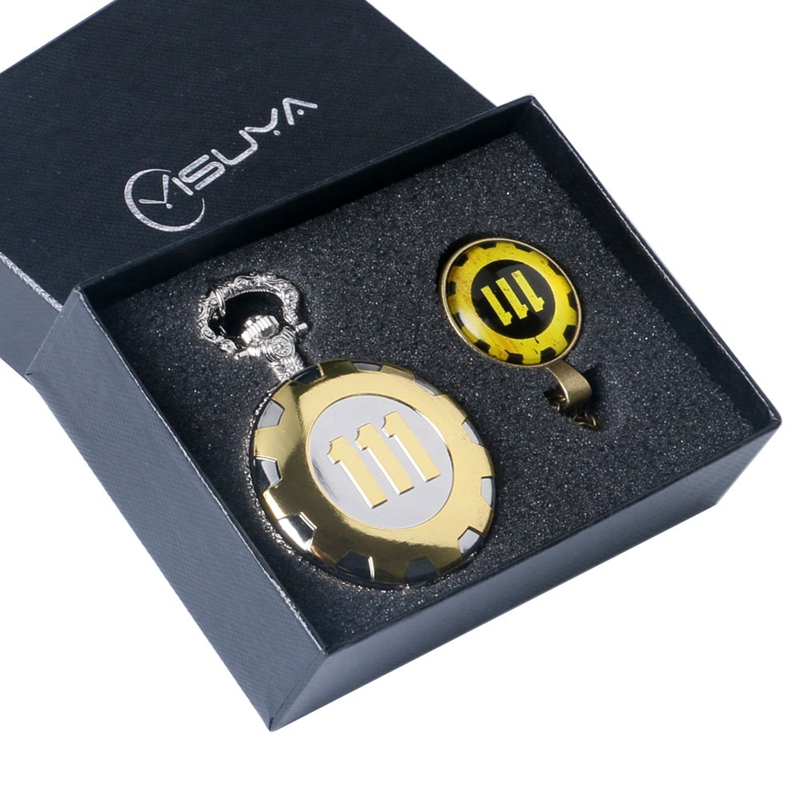 Hot Game Watch Fallout 4 Vault 111 Quartz Pocket Watch With 111 Theme Glass Dome Pendant Chain Necklace Souvenir Gifts Box Sets