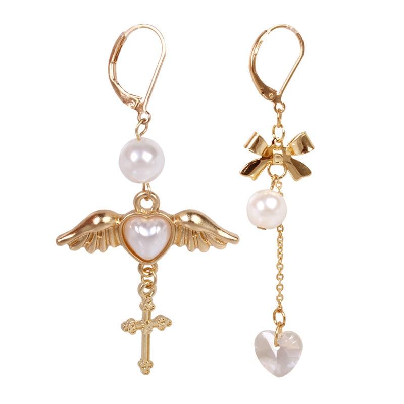 Оптовая продажа с фабрики, японские серьги с ангельскими крыльями, сердечками и кристаллами