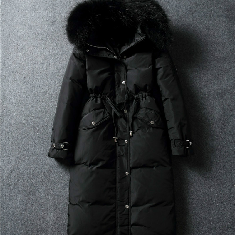 Korean Jacket High-end Duck Down Jacket Warm Down Jacket Girls Long Fashion Knee Collar Fashion Slim Thick Waist Large Clothing new women s fashion authentic korean slim fur collar down jacket female long thick warm white duck down jacket for snow h1013