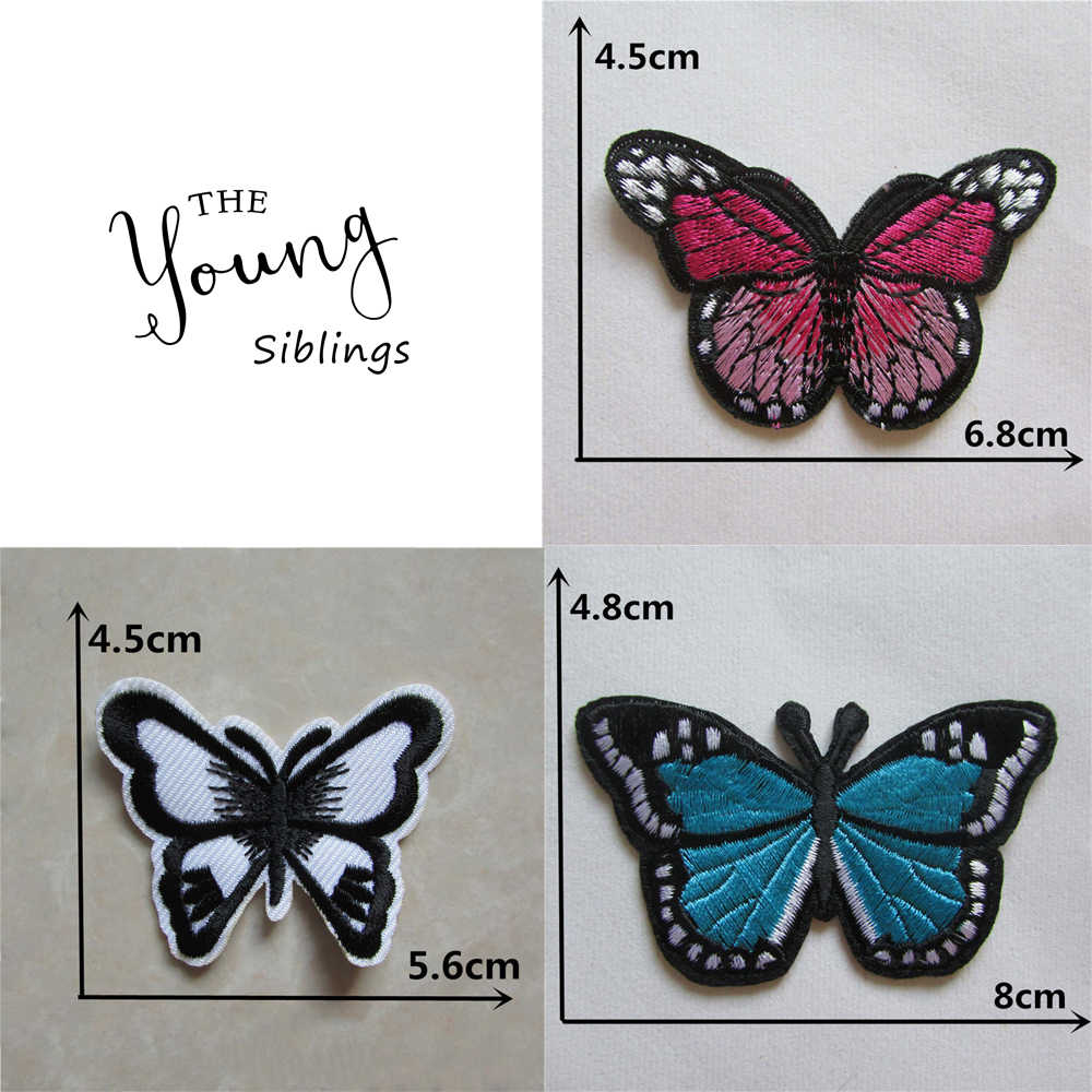 high quality butterfly brand new fashion patches stripes hot melt adhesive applique embroidery patch DIY Clothing accessories