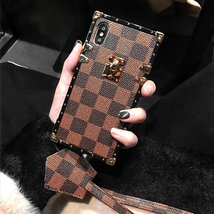 SZYHOME Phone Cases for Iphone X 6 7 8 Plus Vintage Luxury Fashion Square Lattice TPU Silicon Soft Phone Back Cover Accessories