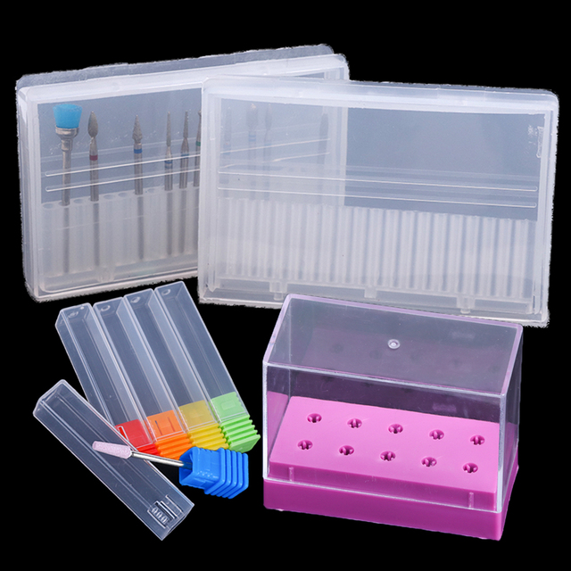 Acrylic Nail Drill Bit Storage Box Empty Stand Display Container Nail Case Cutter for Milling Machine Manicure Accessories BE867