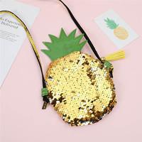 Tassels Sequins Women   Crossbody     Bag   Pineapple PU Children Coin Purse Fashion Ladies Clutch Evening Party Cell Phone Shoulder   Bag