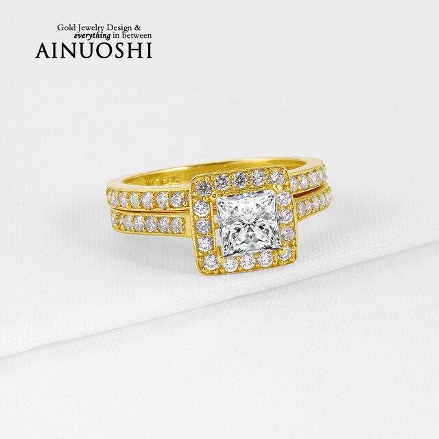 AINUOSHI 10 К Твердые Желтое Золото Halo Обручальное Кольцо Принцесса Cut Имитация Алмазный Предложение Группы Женщин-Летию Свадебные Наборы
