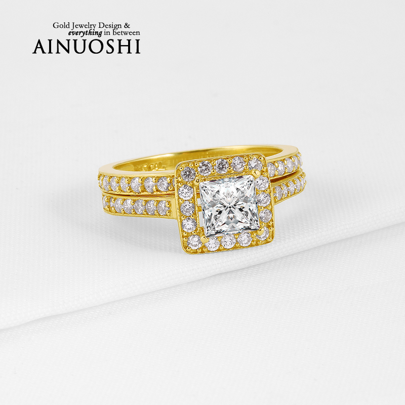 Halo Princess Cut Sona Simulated Diamond Ring Sets 10K Solid Yellow Gold Proposal Bands for Women Engagement Anniversary Wedding