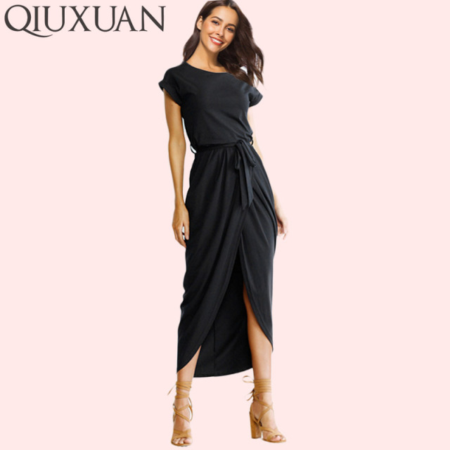 785b86fea8fef US $11.36 35% OFF|QIUXUAN Plus Size XS 3XL Summer Fashion Dress Cap Sleeve  Crew Neck Maxi Dress Asymmetric Hem High Low Dress-in Dresses from Women's  ...