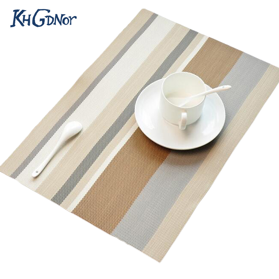 Lot Pvc Stripe Placemats Heat Resistant Placemats For Dinning Table  Nonslip Home Decoration Table Mats Kitchen Pads