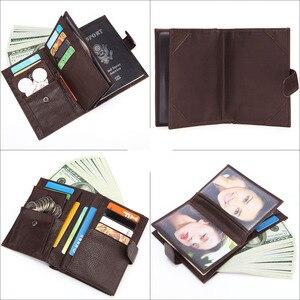Image 3 - GENODERN funda de pasaporte para hombre, cartera funcional grande con soporte para pasaporte, monedero, organizador de carteras