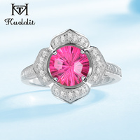 Kuololit Natural Pink Topaz Sapphire Rings For Women 100% Solid 925 Sterling Silver Ring Fire Cut Gemstone Band Fine Jewelry