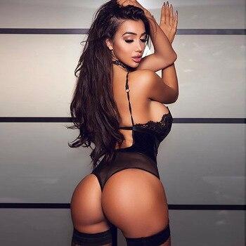 2018 Sexy Halter Lace Bodysuit Women Club Black Backless Deep V Neck Body Top Romper Feminino Summer Party Strap Overalls White 3