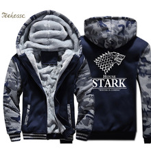 Game of Thrones Jacket Men House Stark Sweatshirt A Song of Ice and Fire Coat Winter Camouflage Wolf Hoodie Hip Hop Streetwear hot sale 216 autumn winter game of thrones sweatshirt men house stark mens thick jacket a song of ice and fire winter is coming