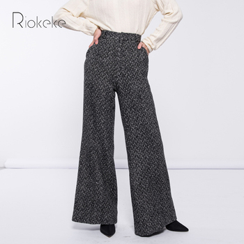 Riokeke Casual Wool High Waist Wide Leg Pants Female Herringbone Trousers Women Winter Tweed Warm Pants Women 2018 Fashion Top